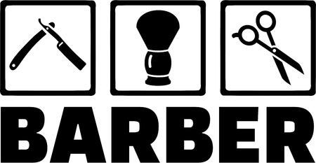 barbero: Herramientas del peluquero Vectores