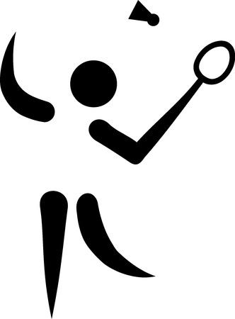 Badminton Player Symbol Illustration