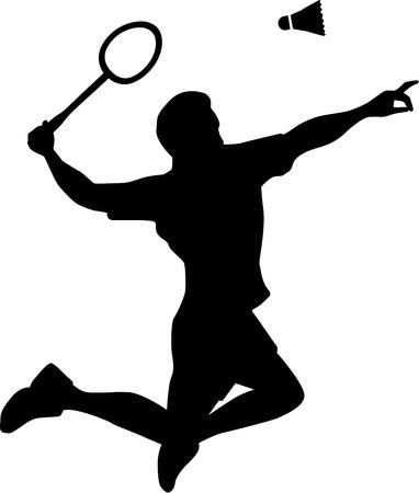 badminton sport symbol: Badminton Player Silhouette Illustration