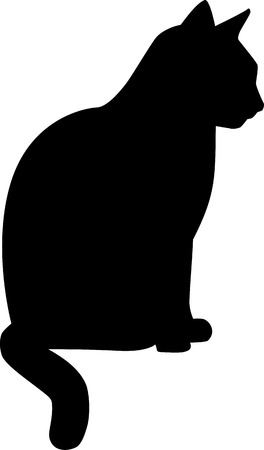 cat silhouette: Silhouette sitting Cat