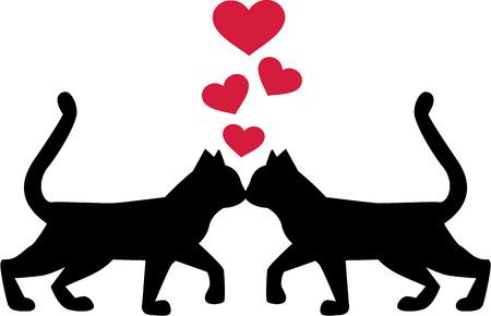 Cats in love illustration 向量圖像