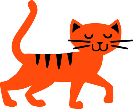 cat silhouette: Red cartoon cat illustration