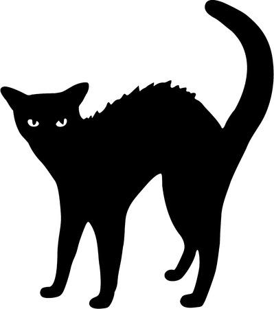 hump: Black cat illustration Illustration