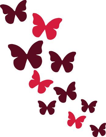 Butterflies in red color Çizim