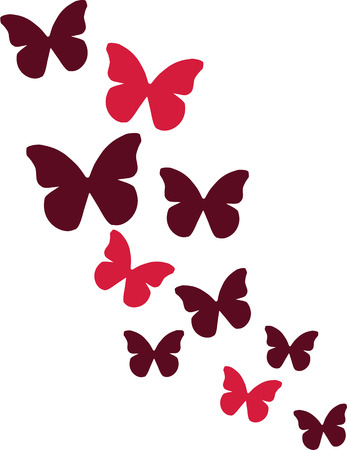 Butterflies in red color Illustration