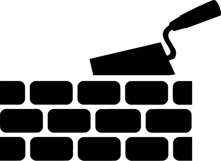 Brick with Trowel Symbol Illustration