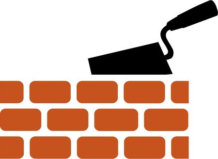 tools icon: Brick with Trowel Symbol Illustration