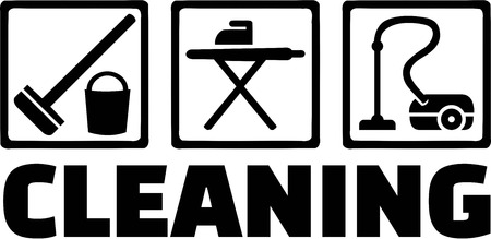 vacuum cleaner worker: Cleaning Icons Illustration