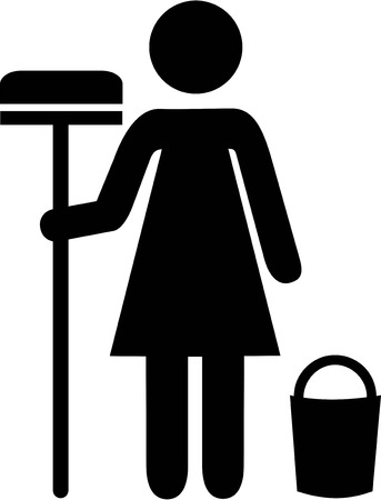 cleaning equipment: Cleaning Woman PIctogram
