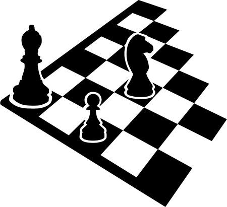 ajedrez: Tablero de ajedrez con los iconos de ajedrez