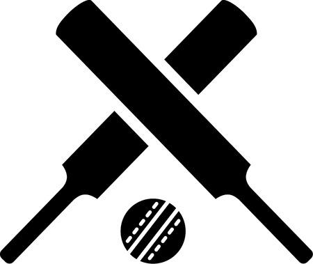 murcielago: Bates de cricket cruzadas con el bal�n Vectores