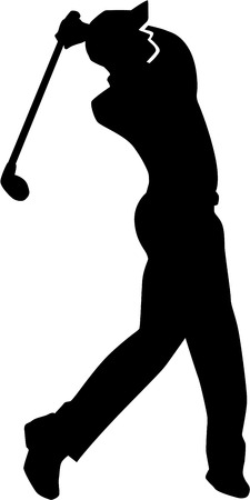 golf hole: Golf Player Silhouette