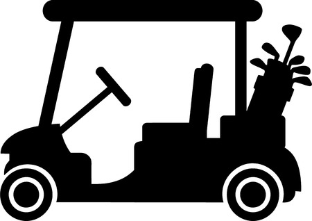 Golf Cart with Clubs Иллюстрация