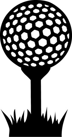 golf hole: Golf Ball on Tee in Grass Illustration
