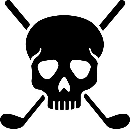 Golf Clubs with Skull Çizim