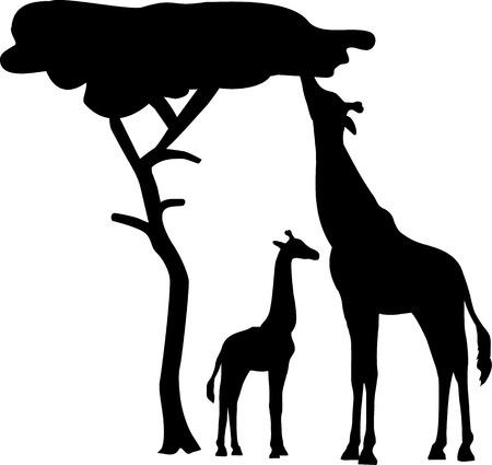 Silhouet giraffe met boom Vector Illustratie