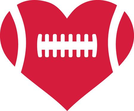 American football heart Vector