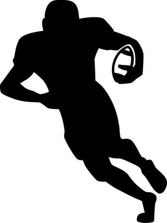 voetbal silhouet: Silhouet Voetbal Hardlopen terug Stock Illustratie