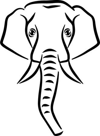tusk: Drawn Elephant head