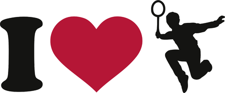 badminton sport symbol: I Love Badminton Player