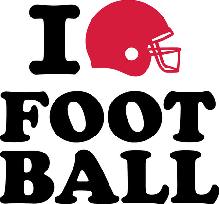 I love Football with helmet Vector