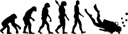 ダイバーの進化  イラスト・ベクター素材