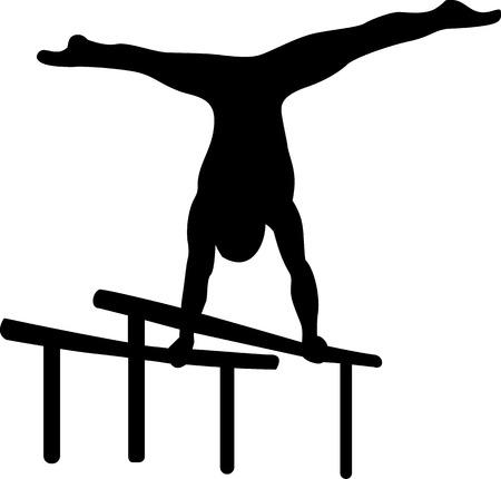 Gymnastics at parallel bars  イラスト・ベクター素材