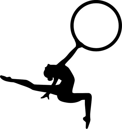 acrobatic: Gymnastics Girl jumping with hoop Illustration
