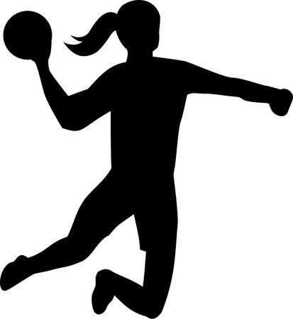 woman throwing: Handball Woman Throwing Ball