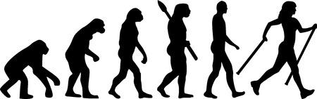 nordic: Nordic Walking Evolution Illustration