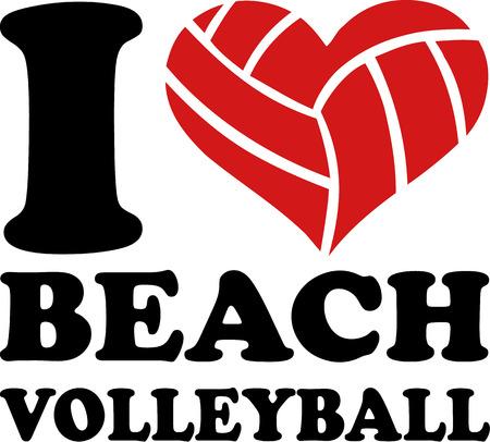 I Heart Beach Volleyball Vector Illustration
