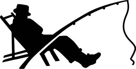 シルエットの男の釣り竿