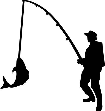 hombre pescando: Pesca de la silueta del hombre de Rod