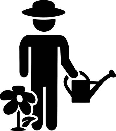 regar las plantas: Jardinería Jardinero Pictograma