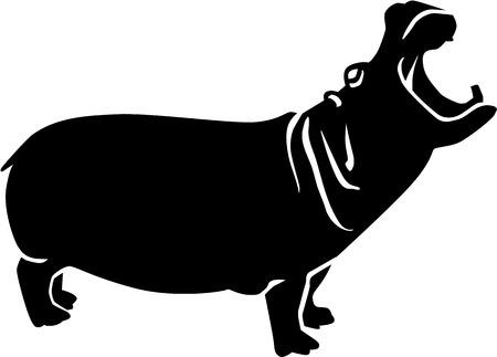 hippopotamus: Roaring Hippopotamus Illustration