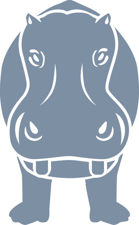 frontview: Hippopotamus frontview Illustration