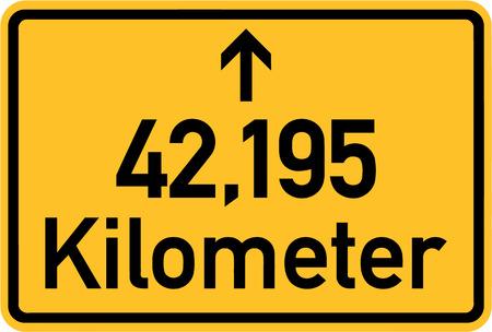 kilometres: Marathon Sign 42,195 kilometres Illustration