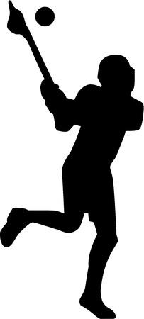 lax: Lacrosse Player Silhouette Illustration
