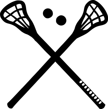 Crossed Lacrosse Sticks Illustration