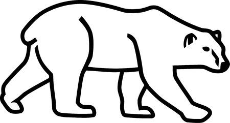 Polar bear silhouette outline