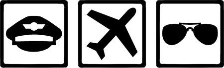 piloto: Iconos piloto Sombrero Avión Gafas Vectores
