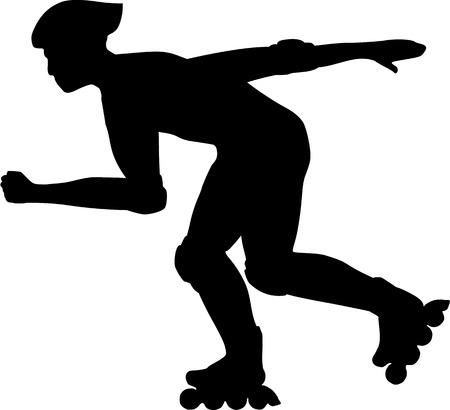 Inline Skater Silhouet Vector Illustratie