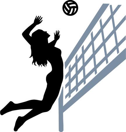 voleibol: Mujer del jugador de voleibol net