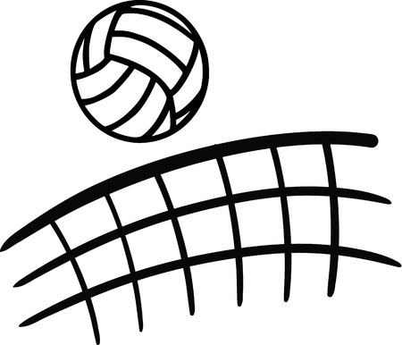 Volleybal vliegt over netto Vector Illustratie