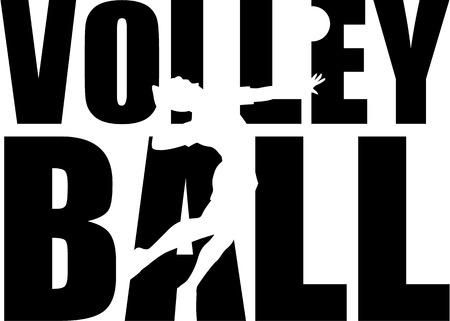Volleyball Wort mit Spieler Standard-Bild - 40904578