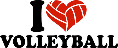 pelota de voley: I Heart Volleyball ballheart Vectores