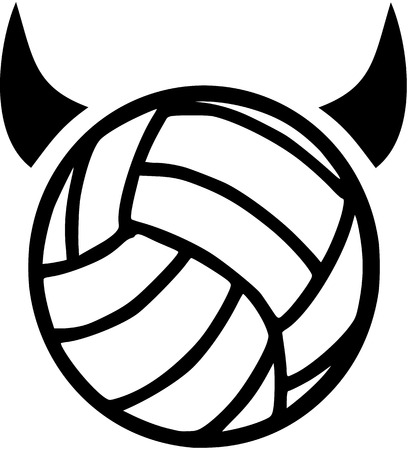 devil horns: Volleyball with devil horns