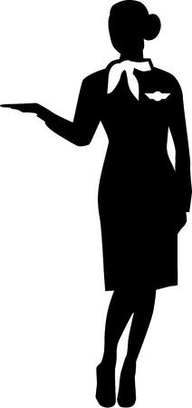 stewardess: Stewardess Silhouette Person Illustration