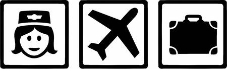 azafata de vuelo: Azafata Tripple Iconos