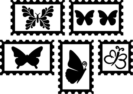 skipper: Stamps with Butterflies Illustration